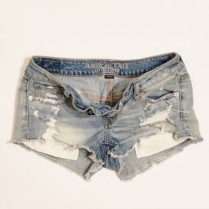 American Eagle Cut Off Super Low Shorties Denim